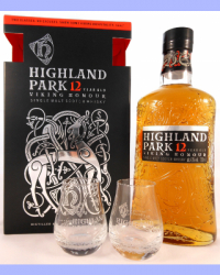 Highland Park 12 Year Old - Viking Honour with 2 glasses